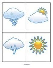 Weather matching and vocabulary. Use these picture cards (without words) to make matching and concentration games for younger learners. 10 cards