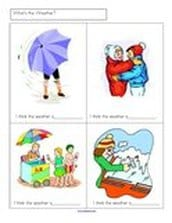 Discuss the kind of weather happening in each picture.  Teacher writes words. 12 cards, Members