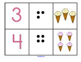 Ice cream theme - mix and match numbers, dots and sets flashcards 1-12