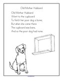 Old Mother Hubbard nursery rhyme printable.