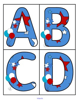 July 4th theme large alphabet cards