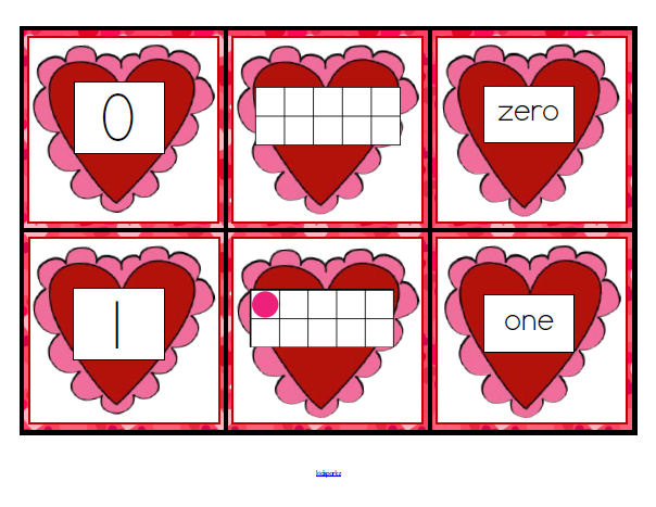 Valentine' Day theme number cards 0-10.