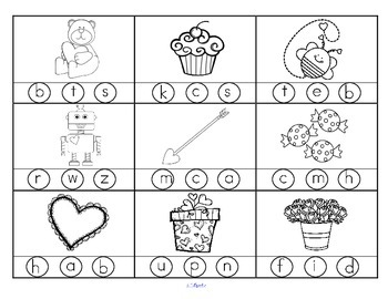 VALENTINE'S DAY Beginning Sounds:  2 printables with 18 pictures in b/w.