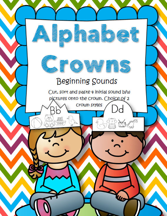 BEGINNING SOUNDS CROWNS - Cut, sort and paste 4 initial sound b/w pictures onto the crown. Choice of 2 crown styles. 80 pages