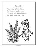 Mary Mary Quite Contrary nursery rhyme printable.