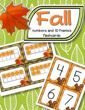 Fall theme number flashcards 0-20, plus a set of 10-frame flashcards, 0-20.