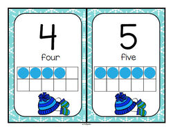 Set of winter theme ten-frames posters 0-20 . They can also be used as large flashcards for small group lessons.