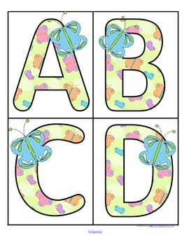 Spring butterflies theme large alphabet cards
