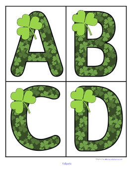 St. Patrick's Day theme large alphabet cards