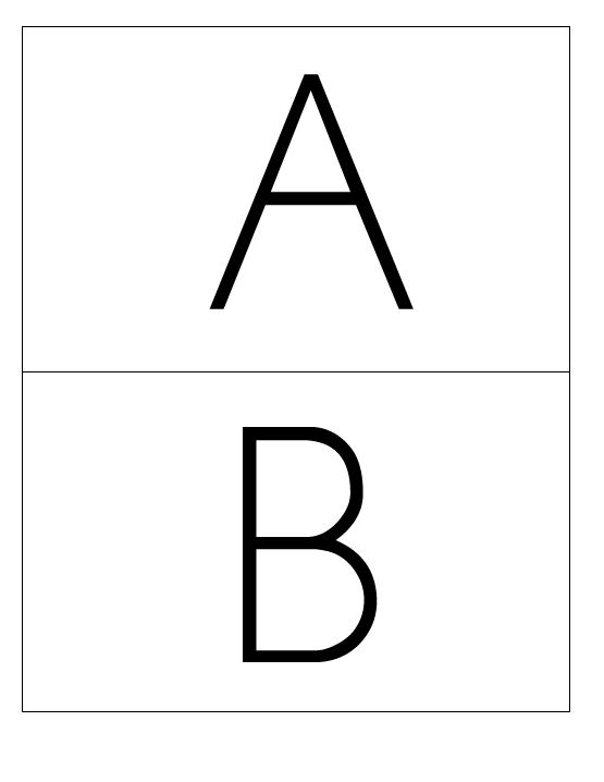 Large simple upper case letters flashcards, 2 to a page