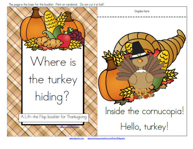 Thanksgiving theme - Turkey lift the flap book  emergent reader plus activities.