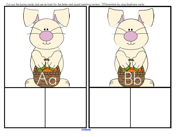 SPRING BUNNY Alphabet Sort - center to practice the recognition of upper and lower case letters,