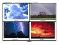 Weather flashcards. 18 photo cards of different kinds of weather situations