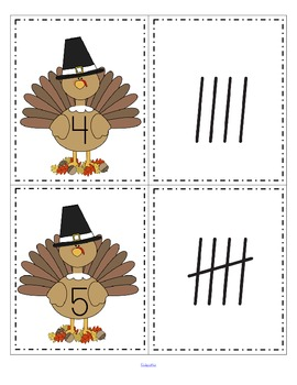 Thanksgiving theme - match or sequence large turkey cards 0-20, and tally marks 0-20.