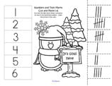 4 winter cut and paste worksheets. Match 10-frames to numbers 1-12. Match tally marks to numbers 1-12.