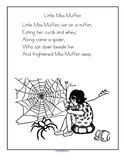 Little Miss Muffet nursery rhyme printable.