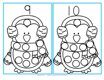 Set of hands-on counting cards (1-15) featuring penguins and a lot of snowballs - stamp the snowballs with a circle marker, bingo dauber, or similar.