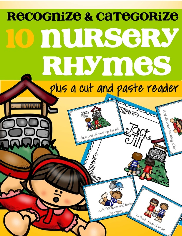 Nursery rhymes categorizing centers with follow-up cut and paste emergent reader