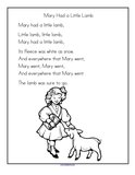 Mary Had a Little Lamb nursery rhyme printable.