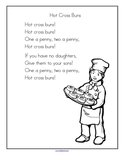 Hot Cross Buns nursery rhyme printable.
