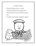 Humpty Dumpty nursery rhyme printable
