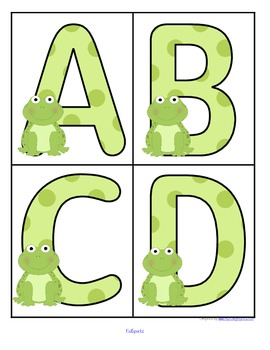 Frogs theme large alphabet cards