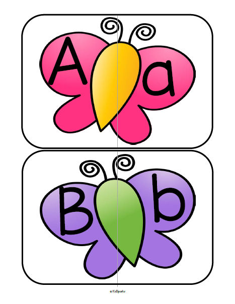 Butterflies match-up cards - match upper and lower case letters.