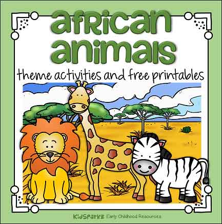 African animals theme activities for preschool and kindergarten