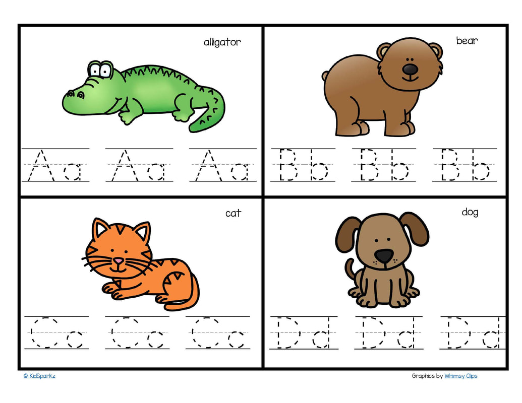 Animal alphabet writing cards A-Z. 4 to a page