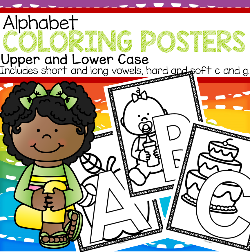 Alphabet posters and coloring pages for preschool and kindergarten