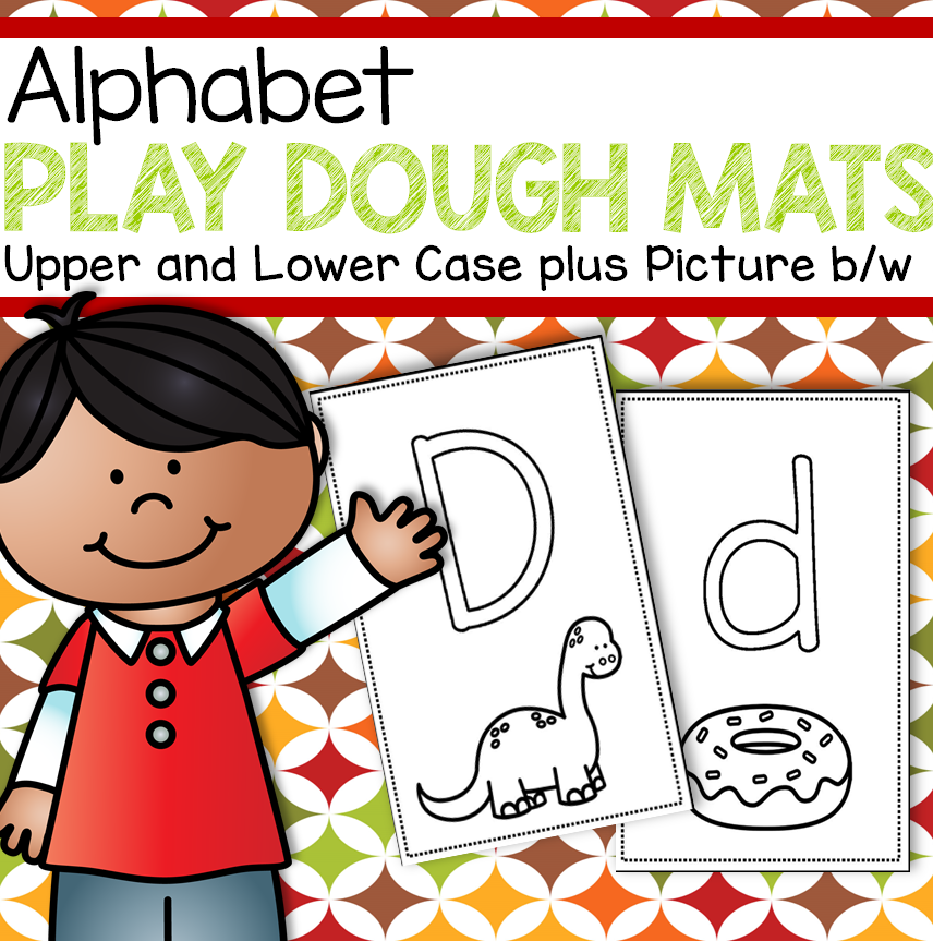 Alphabet Pay Dough Mats Pack includes 52 half-page mats, 26 upper case and 26 lower case.