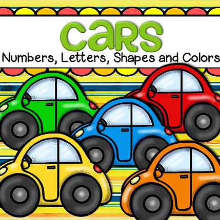 Cars theme numbers, letters, shapes and colors hands-on activities