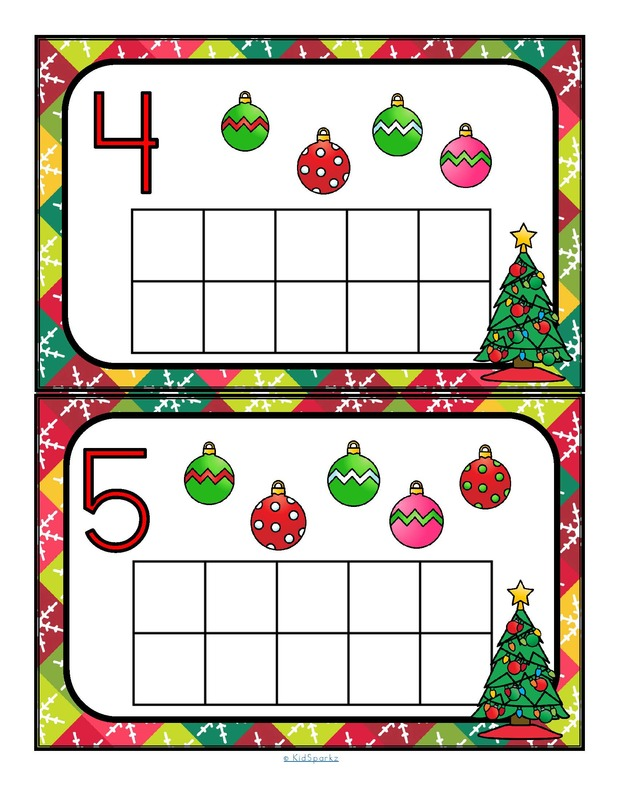 Christmas 10-frames counting 0-10 cards to make center.