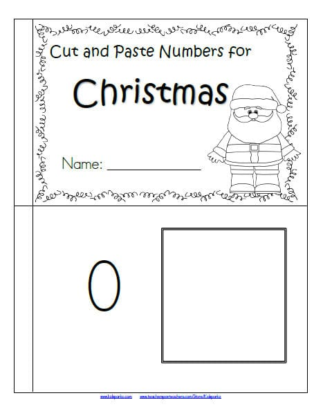 Christmas cut and paste little booklet featuring numbers and sets matching, 0-10.