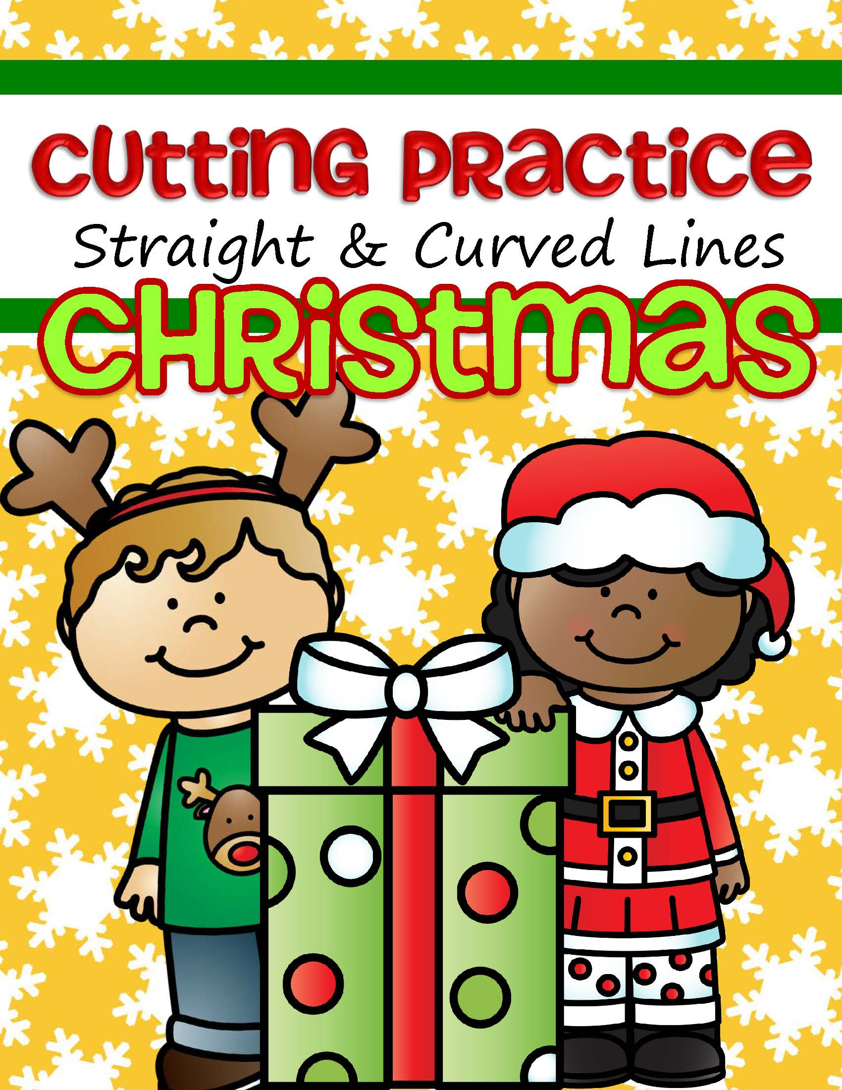8 Christmas themed pages cutting straight and curved lines. After cutting, make collages and puzzles.