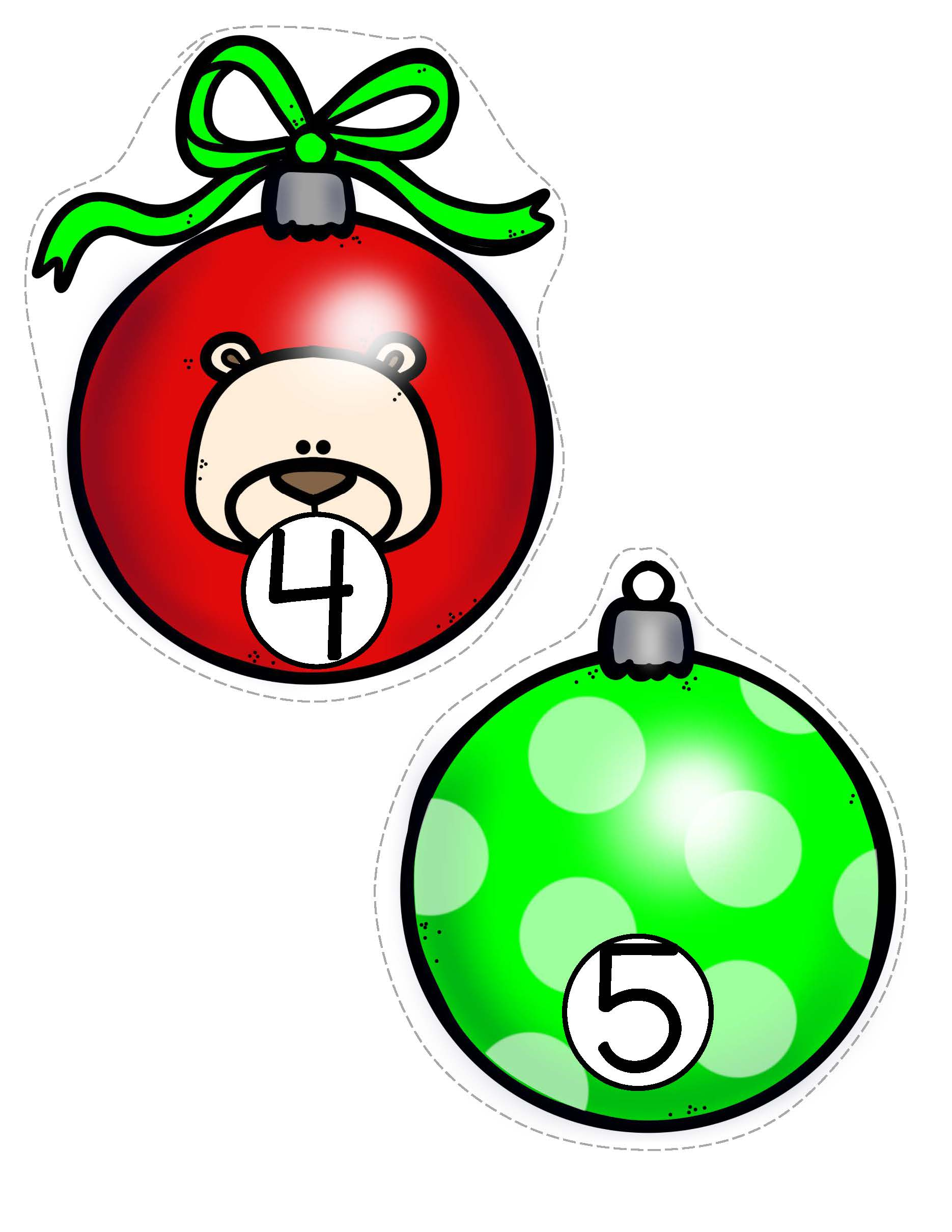 Christmas ornaments counting 0-20. Recognition, sequencing, number lines, matching etc.