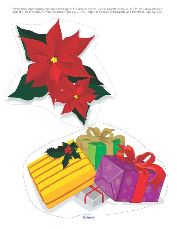 Christmas preschool theme large manipulatives for vocabulary, discussion, room decor. 6 pages.