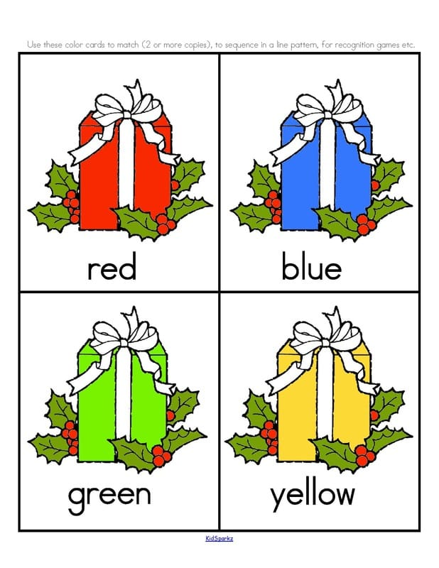 Christmas colors recognition and matching. 6 pgs, 12 colors.