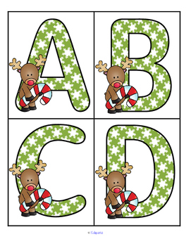 Christmas reindeer large letters flashcards.  Great for making games, and bulletin boards.