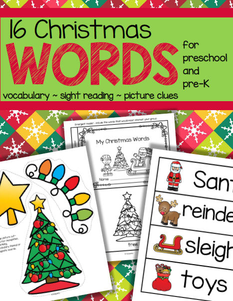 The focus is on 16 words associated with Christmas – recognizing the pictures, learning the vocabulary, and linking the pictures with the spoken and written words.