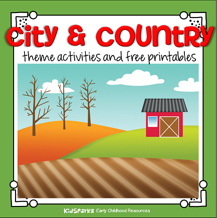City and country theme activities and printables for preschool and kindergarten