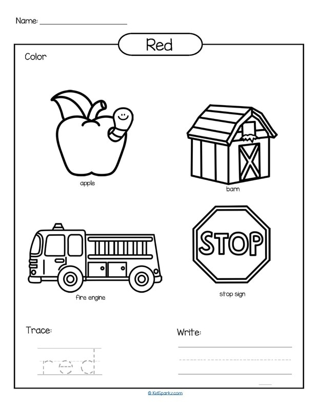Color red printable - color, trace and write.