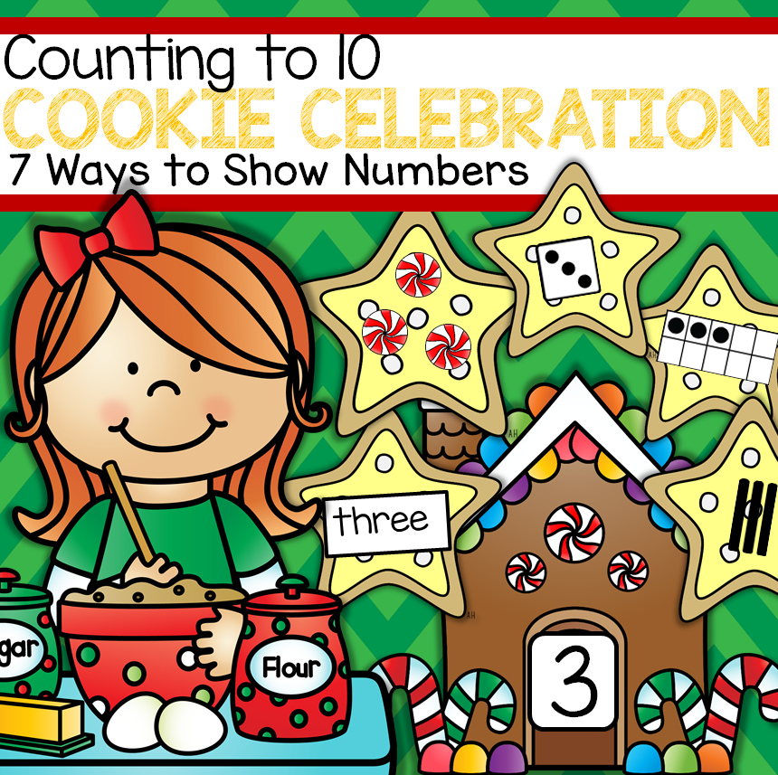 Count cookie cards showing numbers 7 different ways onto numbered mats.