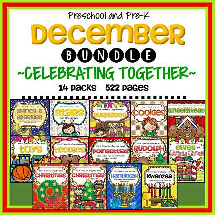 December Themes Bundle -  for preschool and pre-K. 522 pages