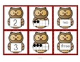 Set of number cards with an owl theme, 0-10.