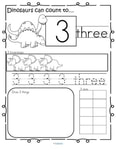 Dinosaur theme number printables.