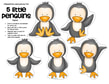 Set of five cute baby penguins, to use for counting activitie