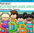 Set of alphabet posters, flashcards and coloring pages. 49 pgs
