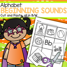Alphabet beginning sounds cut and paste printables