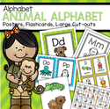 Set of alphabet posters, flash cards, game cards and coloring pages with an animals theme. 108 pages.